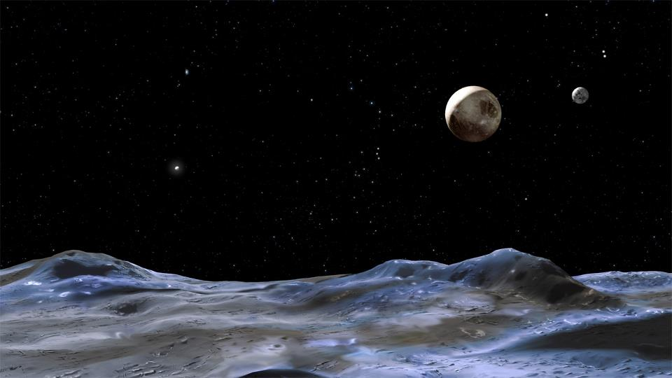 Pluto & Its Moons From the Surface