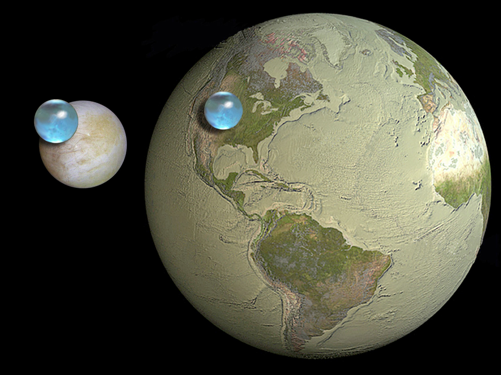 This is a comparison between the water found on Earth and the Galilean moon, Europa. (Source)