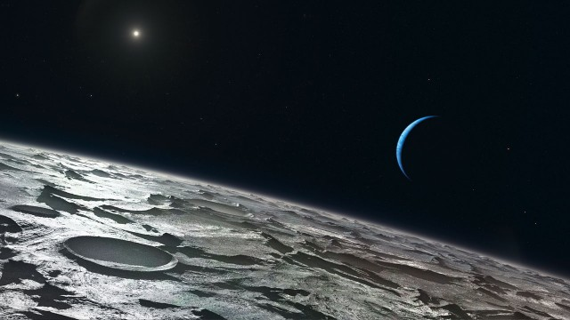 An approximation of how Triton's atmosphere may look. (Credit: Credit: ESO/L. Calçada)