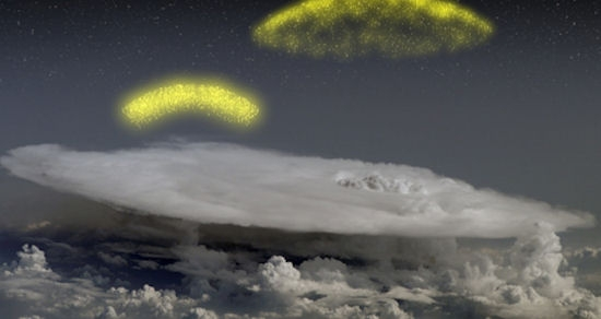 An artist's concept of antimatter spraying above a thunderhead