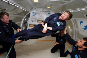 Hawking enjoying some time a in zero G environment. (Source)