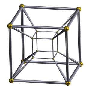 A rendering of a tesseract. Image from Wikipedia