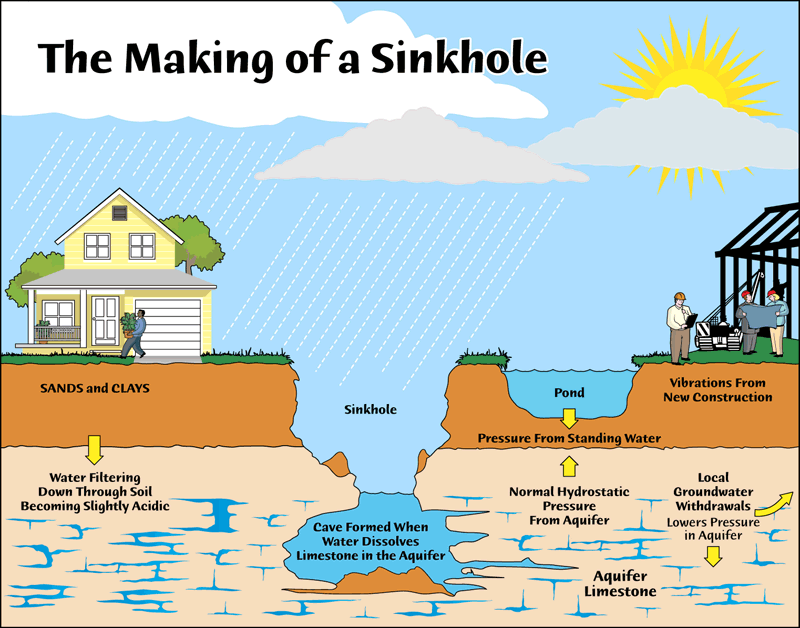 Diagram of a sinkhole via swfwmd