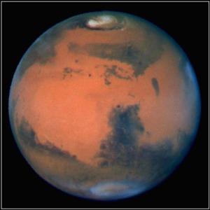 In the image, a single pixel represents spans 13 miles (22 km) of Martian terrain. (Credit: NASA/David Crisp & WFPC2 Team)
