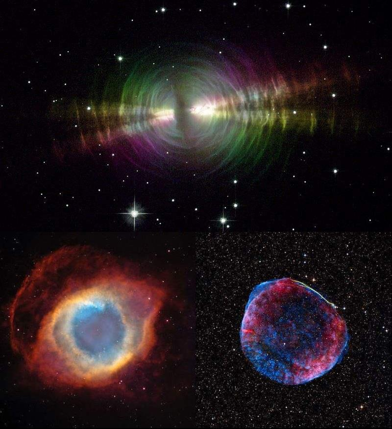Top: An example of a protoplanetary nebula. - the Egg nebula Bottom left: An example of a planetary nebula - the Helix nebula. Bottom right: An example of a supernova remnant - SN 1006.