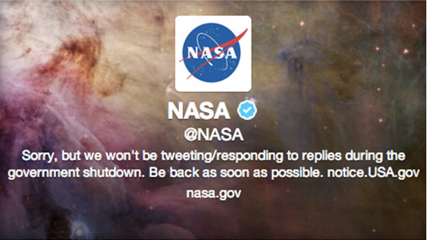 This image appears on NASA's Twitter page, a direct response to the shit down.