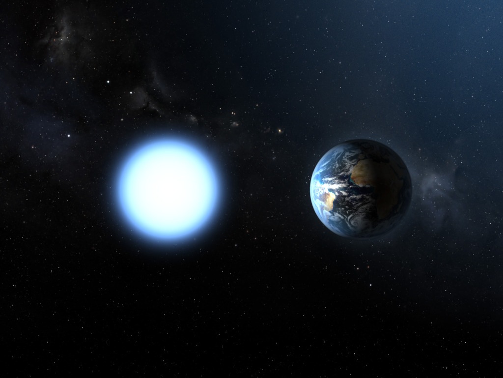 An approximation of Earth and a white-dwarf. (Credit: ESA and NASA)