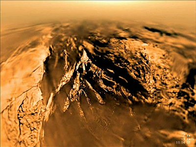 A root mountaintop found on Titan. (Credit: ESA/NASA/JPL/University of Arizona)