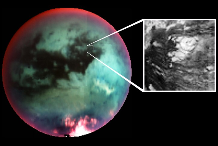 Investigators suspect the domed feature detailed above is an ice volcano, or cryovolcano, seen in infrared light  through the hazy atmosphere on Saturn's moon Titan. Since Titan's surface temperature is around minus 180 degrees Celsius, lava welling up to form the volcanic mound  would be icy indeed - possibly a slurry of methane, ammonia, and water ice combined with other ices and hydrocarbons. The circular feature  is roughly thirty kilometers in diameter. If its volcanic nature is confirmed, the discovery of cryovolcanism on Titan could explain the origin of methane in Titan's atmosphere.