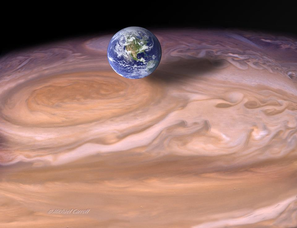 Jupiter's red spot compared to Earth via Michael Carroll