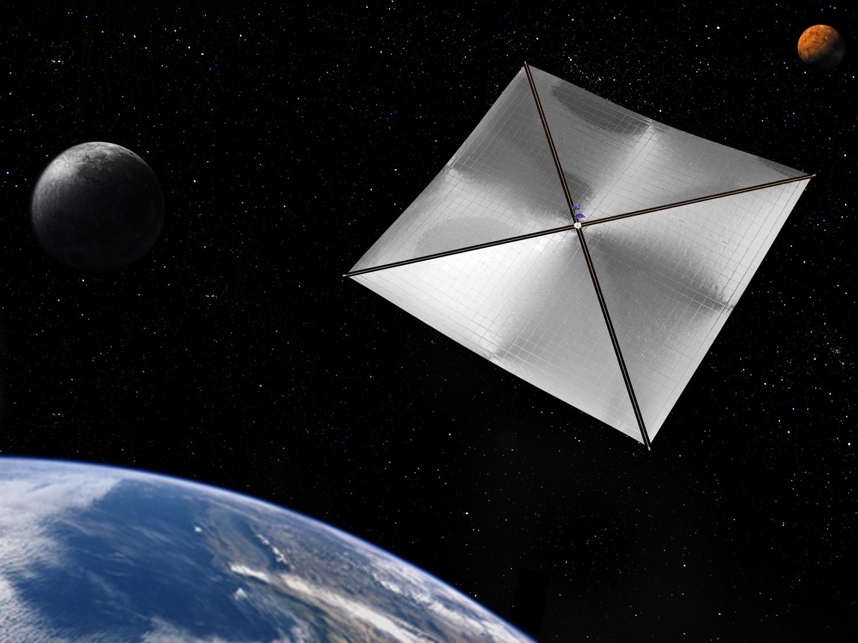 Artist's rendering of a four-quadrant solar sail propulsion system via NASA