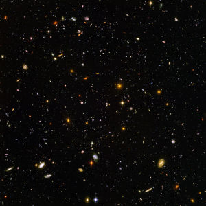 This is the Hubble Ultra Deep Field. It reveals some of the most distant galaxies in the universe.
