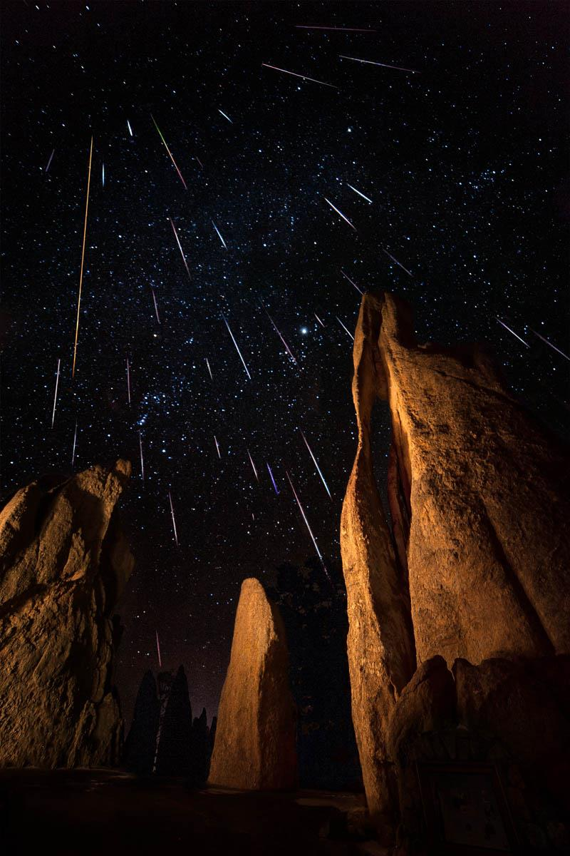 """Photograph of the Geminids Meteor Shower as seen from Custer State Park in South Dakota, USA. Image courtesy of <a href=""""http://www.davidkinghamphotography.com/"""" target=""""_blank"""">David Kingham Photography</a>"""