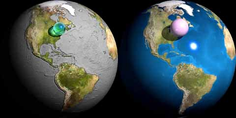 An illustration shows the volume of all the world's liquid water if put in the form of a sphere (green) and the volume of the atmosphere (pink) if the air were all at sea-level pressure. Credit:
