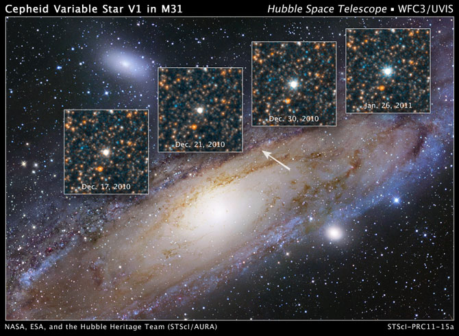 NASA's Hubble Space Telescope has been trained on a single variable star that in 1923 altered the course of modern astronomy. V1 is a special class of pulsating star called a Cepheid variable that can be used to make reliable measurements of large cosmic distances. Credit: NASA, ESA, and the Hubble Heritage Team (STScI/AURA)