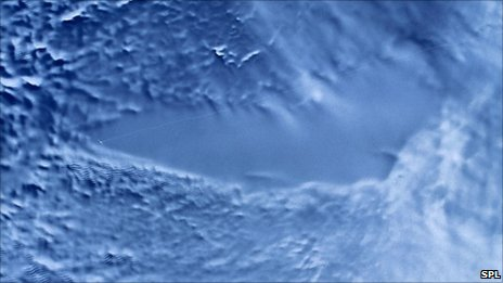 Radar satellite image of Lake Vostok (Credit: NASA)