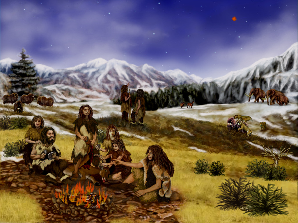 Neanderthal family. Artwork by Randii Walter.