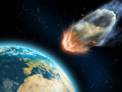 An artist rendering of an asteroid approaching Earth. (Credit: Andreus Agency)