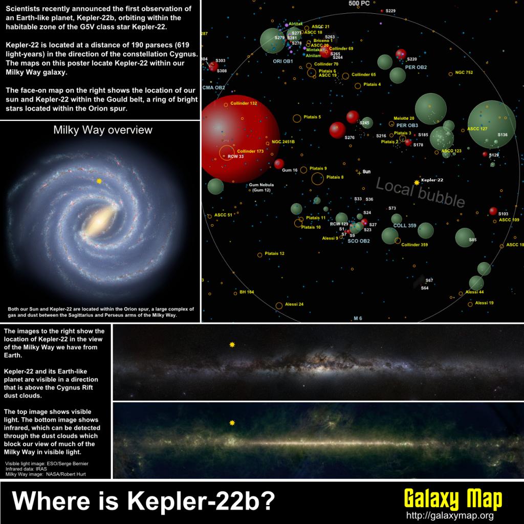 Kepler 22-b's location (Credit: Kevin Jardine/Galaxymap.org)