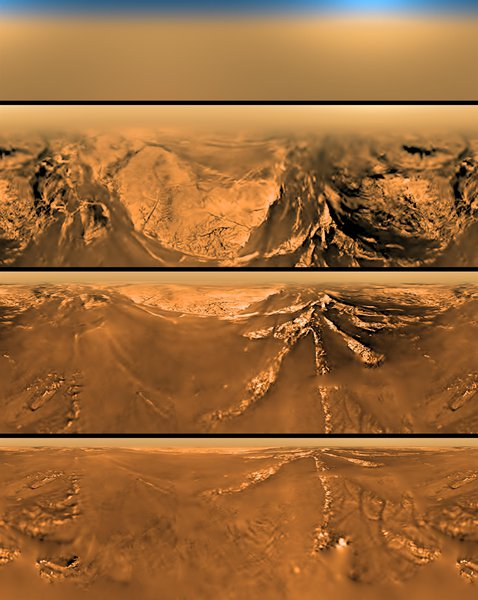 Real images of the journey through Titan's atmosphere, to the surface (Image Credit: ESA/NASA/JPL/University of Arizona)