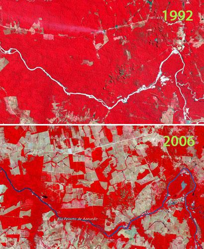 Deforestation in Mato Grosso, Brazil, 1992 to 2006 via NASA