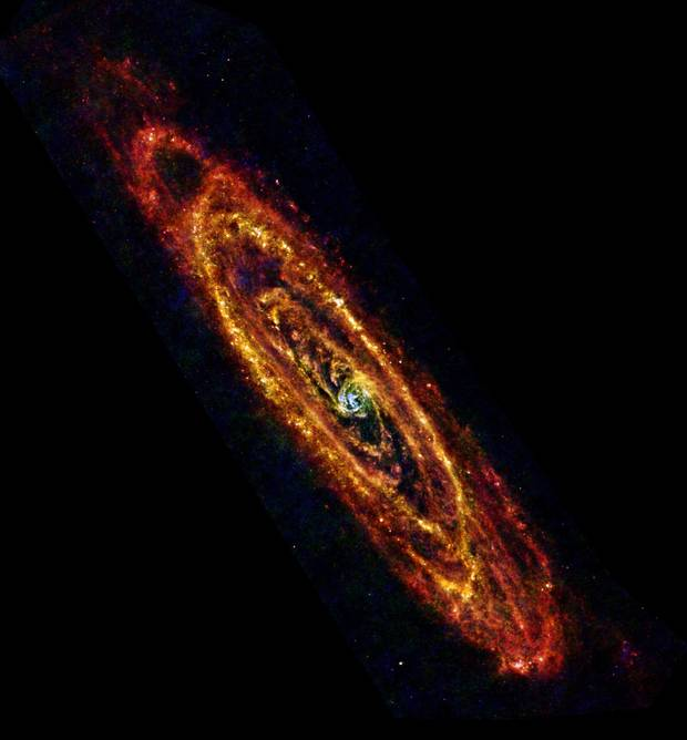 Andromeda galaxy from the Herschel space observatory via ESA/NASA/JPL-Caltech/NHSC