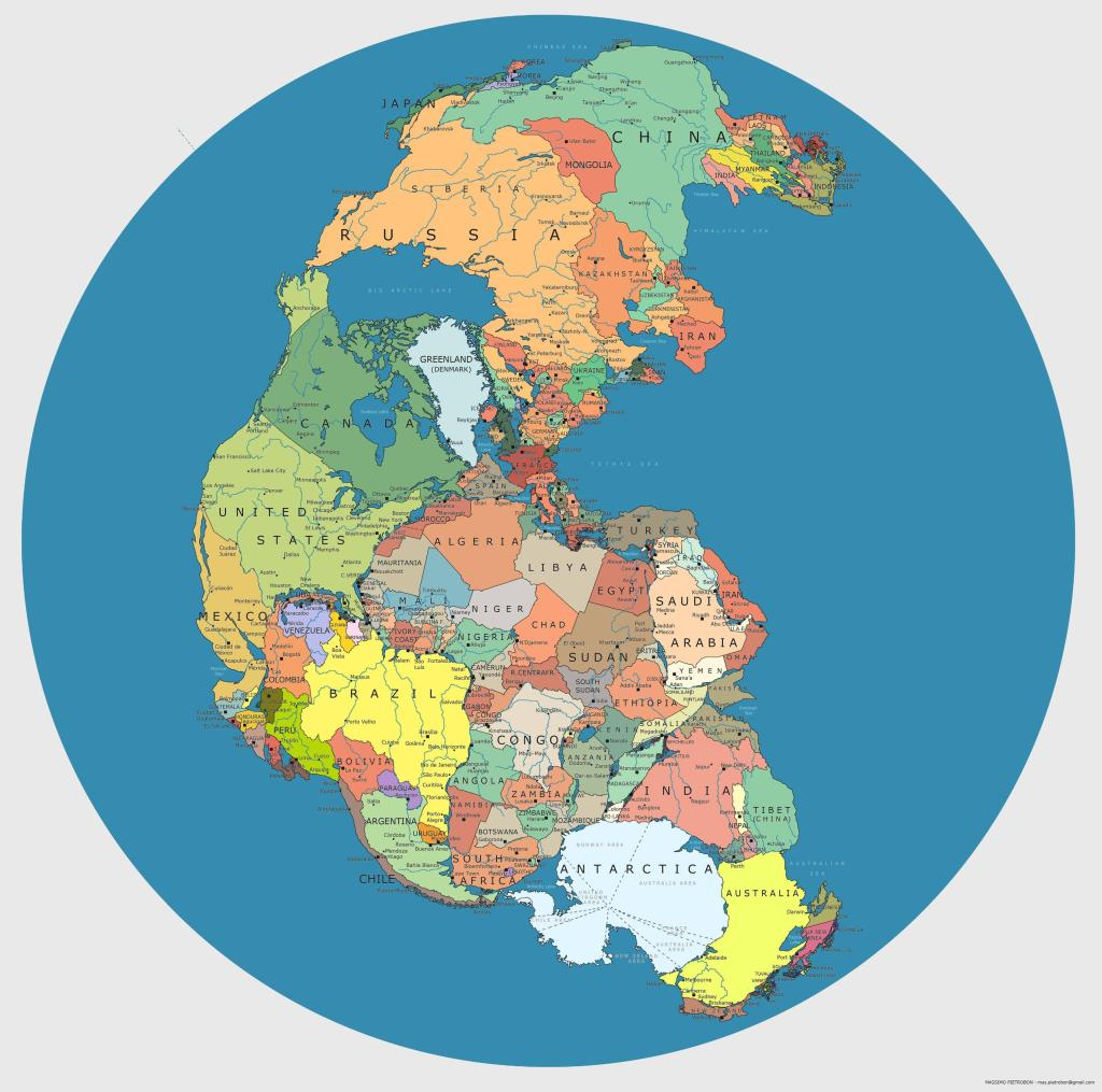 Pangea with current geopolitical borders via Reddit