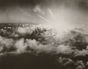 Aerial View of the Flash of Light from the Able Day Explosion over Bikini Lagoon, 07/01/1946 (Source)
