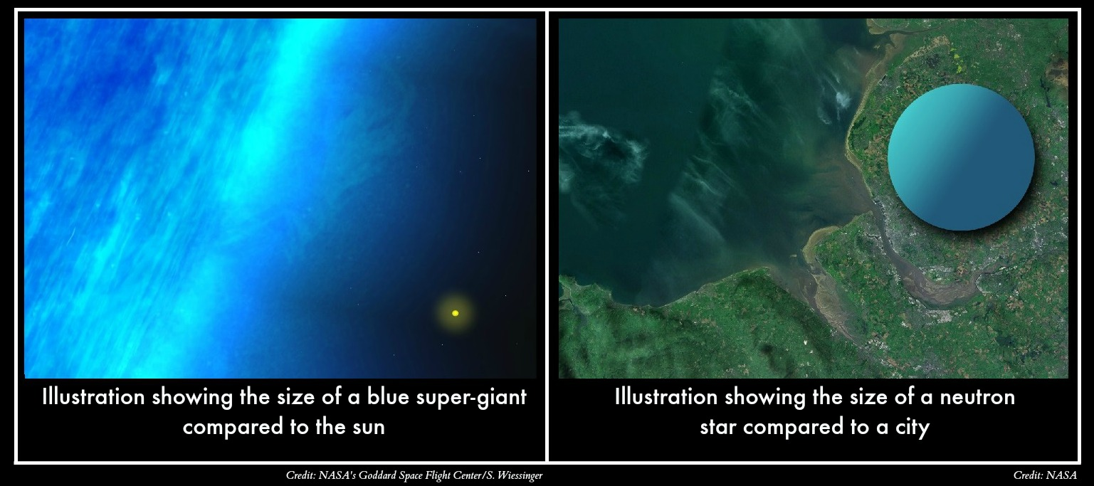 Neutron Star Compared to Blue Supergiant