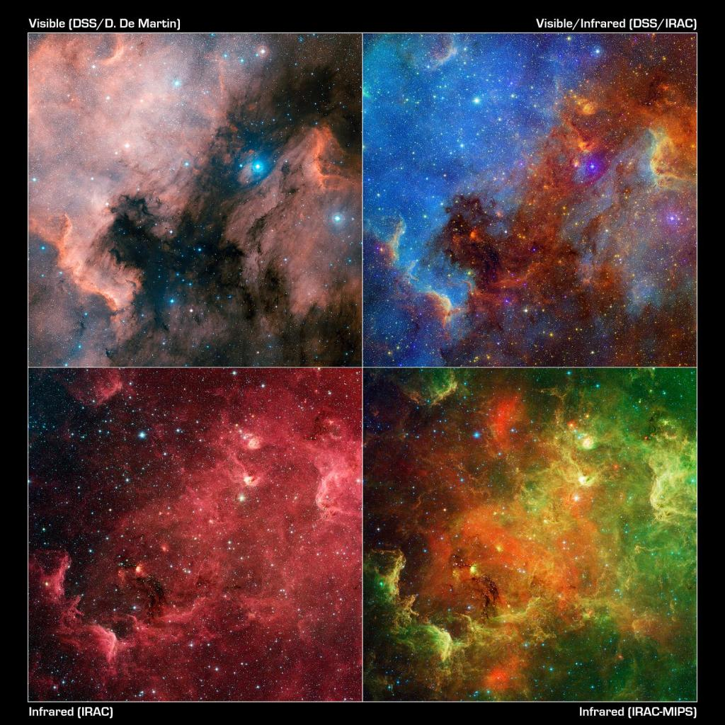 The Pelican nebula seen at multiple wavelengths. The top box on the left shows it in visible light (Credit NASA)