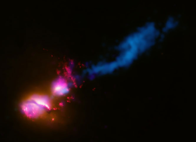 Image credit: X-ray: NASA/CXC/CfA/D.Evans et al.; Optical/UV: NASA/STScI; Radio: NSF/VLA/CfA/D.Evans et al., STFC/JBO/MERLIN