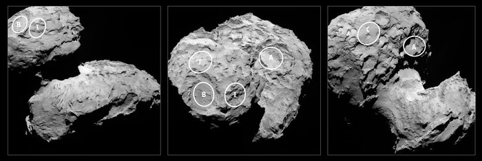 Thanks to Rosetta, scientists have selected five potential landing sites for Philae. Image Credit: ESA
