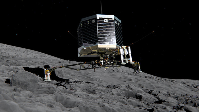 Artist rendition of the Philae lander touching down on the comet's surface. Image Credit: ESA