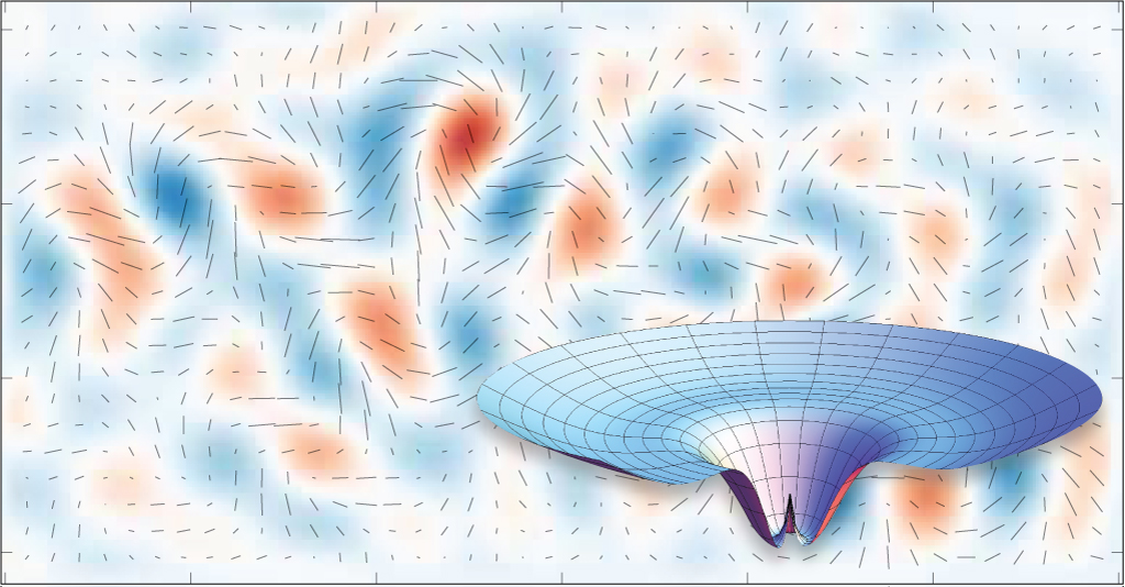 The influence of the Higgs boson and its field (inset) on cosmological inflation could manifest in the observation of gravitational waves by the BICEP2 telescope (background). Image courtesy of the BICEP2 Collaboration (background);