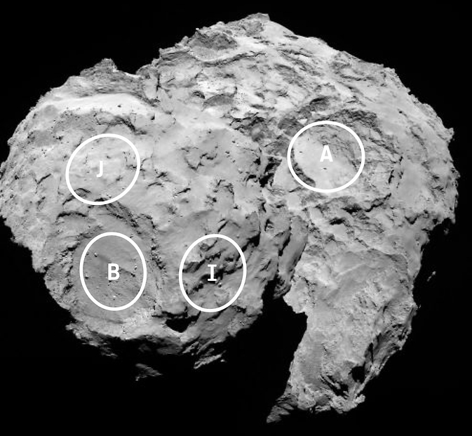 Up-close view of potential landing sites as determined by Rosetta. Image Credit: NASA/ESA
