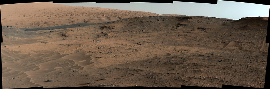 """This southeastward-looking vista from the Mast Camera (Mastcam) on NASA's Curiosity Mars rover shows the """"Pahrump Hills"""" outcrop and surrounding terrain seen from a position about 70 feet (20 meters) northwest of the outcrop. Image Credit: NASA/JPL-Caltech/MSSS"""