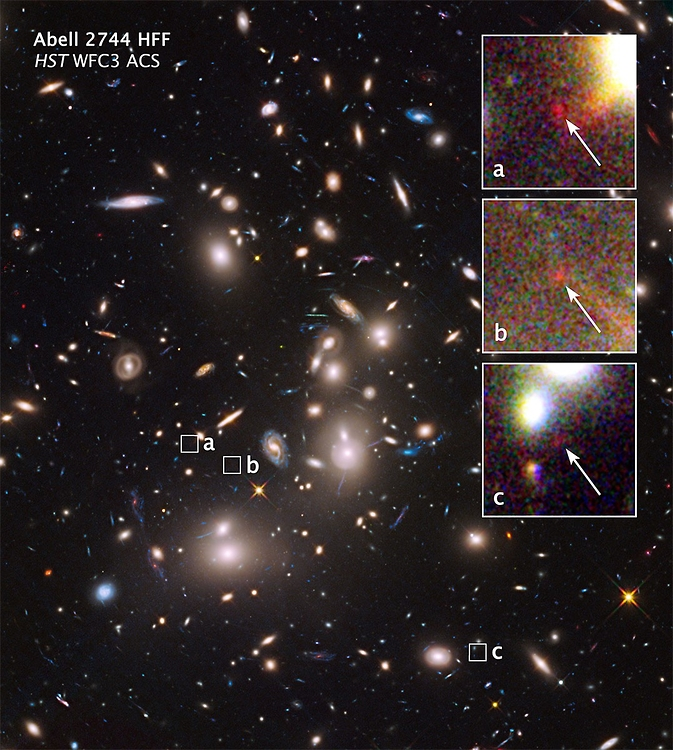 The mammoth galaxy cluster Abell 2744 is so massive that its powerful gravity bends the light from galaxies far behind it, making these otherwise unseen background objects appear larger and brighter than they would normally. (Image Credit: NASA, J. Lotz, [STScI])