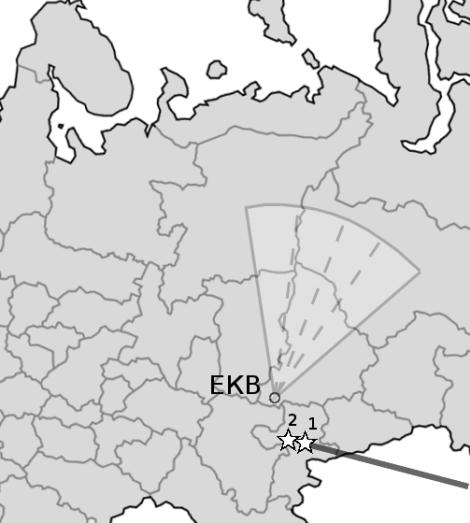 EKB radar field-of-view and trajectory of meteorite 'Chelyabinsk', its explosion (1) and fall (2). (Credit: Oleg Berngardt)