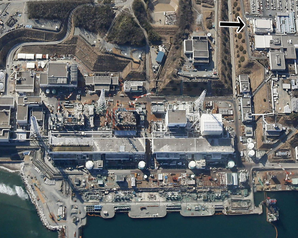 In an aerial photo Fukushima No. 1 nuclear power plant, the location of the power failure is shown in the top right corner. Image Credit: KYODO