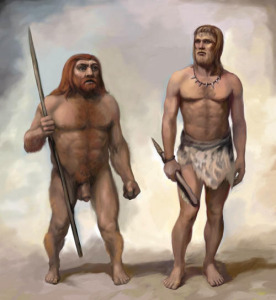 Artist rendering of a neanderthal compared to a modern human (via Softpedia)