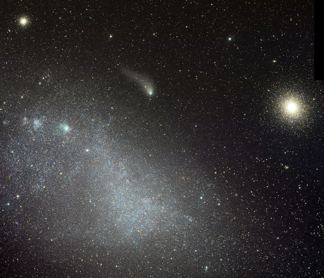Siding Spring (center) with the Small Magellanic Cloud (left) and NGC 130  (Image Credit: Rolando Ligustri)