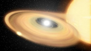 Artist rendering of the nova generated by a star similar to V959 Mon (Credit: NASA / JPL-Caltech)