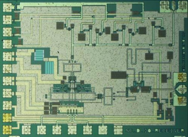 he photo shows the 140 GHz transmitter chip, containing an I-Q modulator, a 3-stage amplifier, and a x3 frequency multiplier for the local oscillator. The chip was designed by Sona Carpenter, Herbert Zirath, and Mingquan Bao. Data-transmission measurements was done by Simon He. The chip size is 1.6x1.2 mm2. Credit: Sona Carpenter