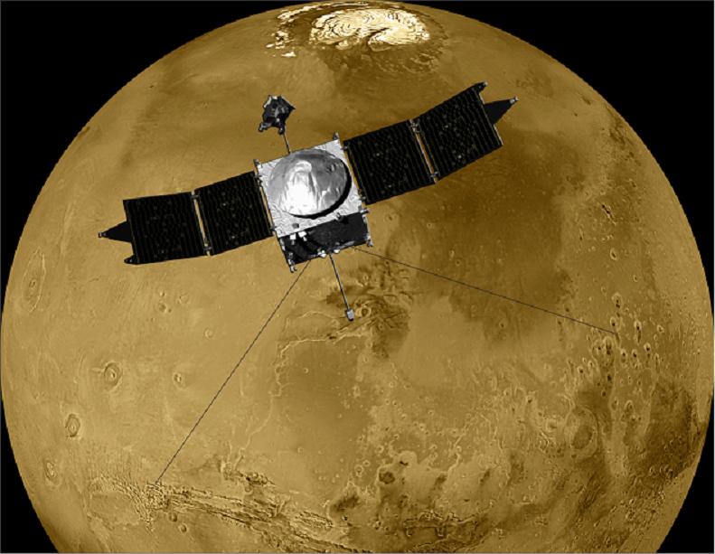 Artist's rendition of the MAVEN spacecraft in orbit around Mars. Credit: University of Colorado/NASA