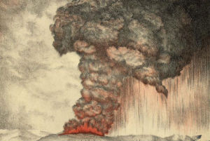 A lithograph of the eruption (circa 1888).  Image: Parker & Coward/Wikimedia