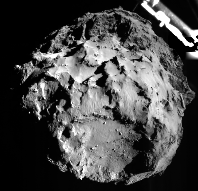An image taken by the Philae lander as it descended toward the surface of Comet 67P/Churyumov-Gerasimenko. Credit European Space Agency