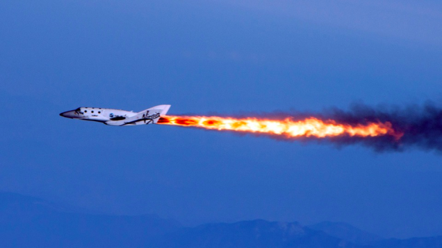 : A photo of SpaceShipTwo on April 19, 2013, the date of its first supersonic test flight. Image credit: Virgin