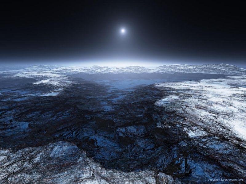 Artist rendering of Europa's atmosphere (Credit: Kees Veenenbos)
