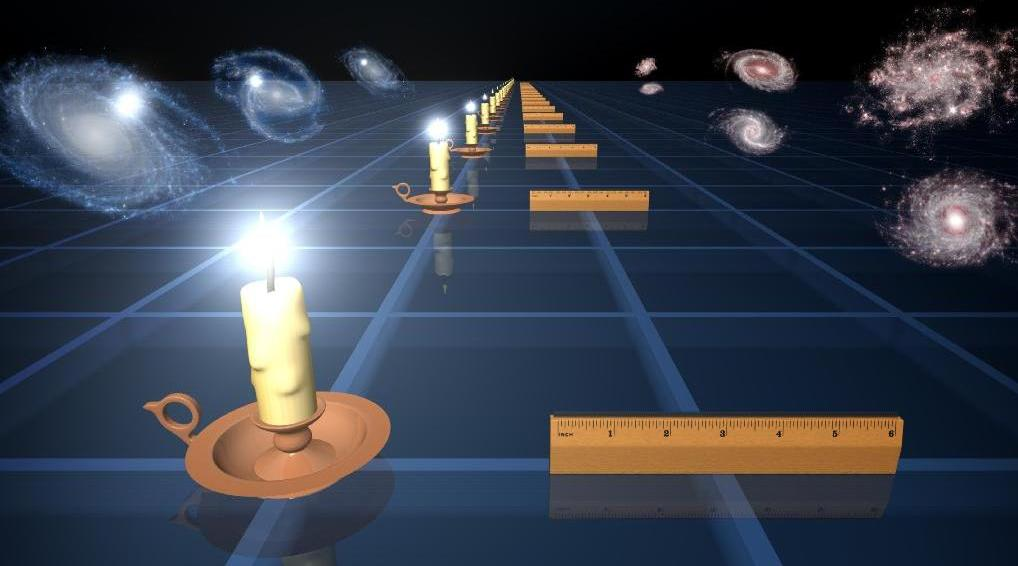 Illustration of standard rulers and standard candles to measure expansion of universe. (Credit: NASA/JPL-Caltech)