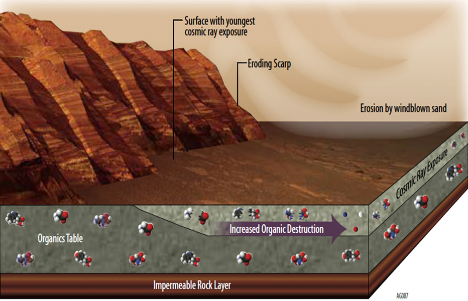 Whatever organic molecules may be produced on Mars or delivered to Mars face several possible modes of being transformed or destroyed. Image Credit: NASA/JPL-Caltech
